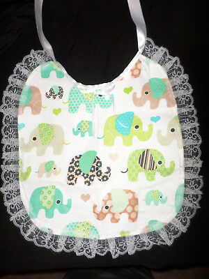 Elephant   Adult Baby Sissy Bib Lace Trimmed White Satin Ties Plastic Backed