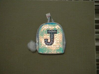 Nwt Justice Girls Initial J Mermaid Scale Mini Backpack