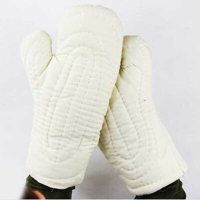 Pair of 35cm Antiskid Protective Labor Garden Labor Protective Gloves -White