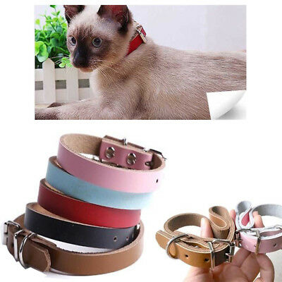 Pet Dog Leather Collar Adjustable Puppy Cat Neck Safety Strap Leash XS S M L
