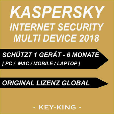 Kaspersky Internet Security Multi Device 2018 1 GERÄT 6 MONATE PC MAC KEY
