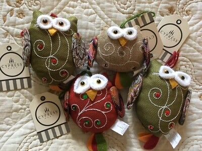 4 Cypress Home Fabric Owl Christmas Ornaments New 4 55 Tall