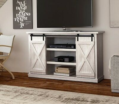 Rustic Gray Sliding Barn Door Tv Stand Farmhouse Console Table