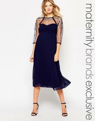 1275791cb02f4 ASOS LITTLE MISTRESS Maternity Size 4 Midi Embellished Dress Navy ...