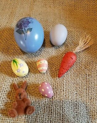 7 Vintage Easter Items: 5 Eggs,  Wooden Carrot, Flocked Bunny EUC