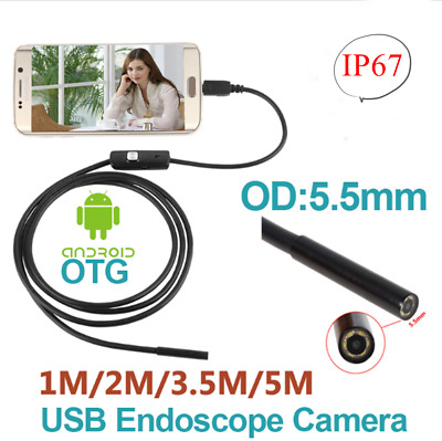 Endoscope Waterproof Snake Borescope USB Inspection Camera 1-5M Android 6LED 7mm