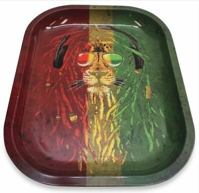 Smoke Arsenal RASTA LION Cigarette Tobacco Metal Small Rolling Tray 7x5