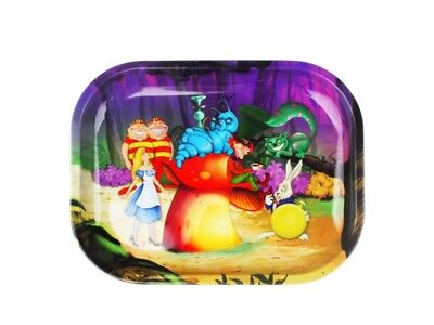 ALICE in Wonderland MUSHROOM Cigarette Tobacco Metal Small Rolling Tray 7x5