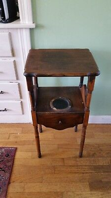 VINTAGE SMOKING TABLE PIPE CIGAR STAND CABINET Copper lined HUMIDOR draw