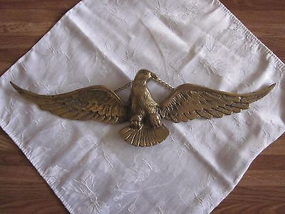 """Vintage 18"""" Brass American Bald Eagle w/ Chain Decoration Wall Hanging USA"""