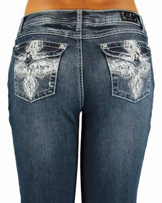 EARL JEANS Bling Lace Cross Slim Boot Stretch-SZ 22,,24 AND 20 X32