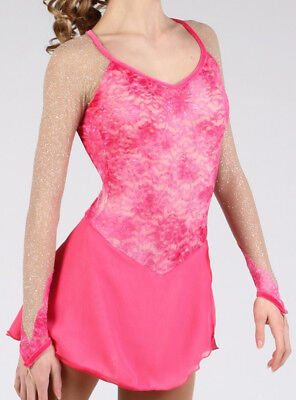 Elite Xpression 1611 Ice Figure Skating Competition Dress Pink Girls Size 10-12
