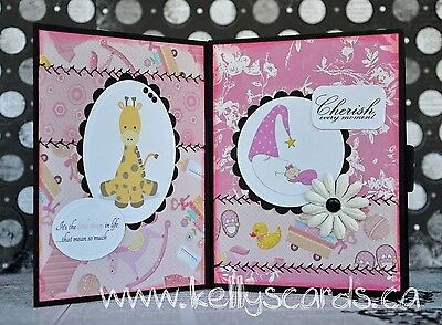 KOScraps4u Sewn Precious Baby Girl Album Shower Handmade Card Premade piecing