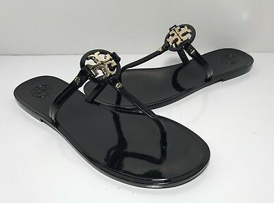 42aa66f48 TORY BURCH MINI Miller Black Jelly Flat Sandals Women's Size 8 M ...