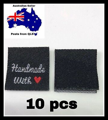 WOVEN LABELS 10pcs, Hem Tag, Folded Label, Clothing, Handmade With love, Heart