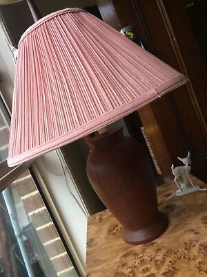 Vintage Solid Wooden Lamp Base with Shade - Turned Wood - Working