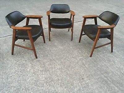 Vintage Mid Century Style Paoli Arm Chair! Brown Vinyl And Wood. 3 Available