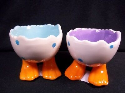 Chick feet ceramic egg cup set of 2 polka dots purple & blue Easter Spring