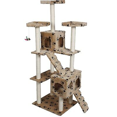 "73"" Cat Tree Scratcher Play House Condo Furniture Bed Post Pet House Very Cute"