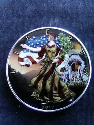 2017 American Silver Eagle Colorized American Indian at Sunset 1oz Silver coin