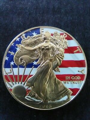 2016 American Silver Eagle Colorized Liberty Flag 24K Gold Gilded 1oz