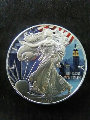 2017 American Silver Eagle NEW YORK CITY Colorized 1oz Silver coin