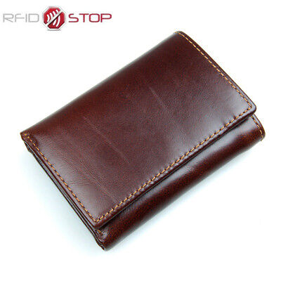 Men's Slim Genuine Leather Mini Wallet Case Card Trifold Purse RFID Anti-Scan