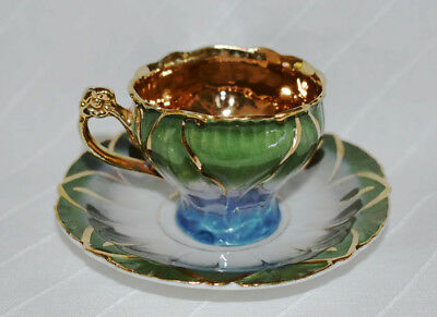 Beautiful gold w/ green/blue color hand painted demitasse coffee cup & saucer