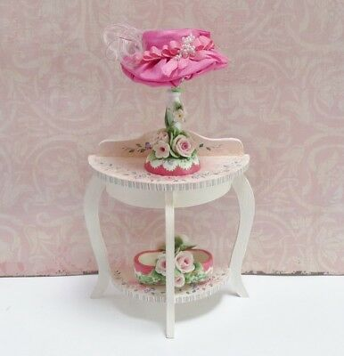 Gorgeous 1:12 Scale Miniature Table With Lady's Hat