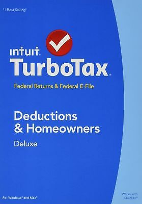 Intuit TurboTax Deluxe 2014 Retail Full Version for PC Mac Federal State Efile