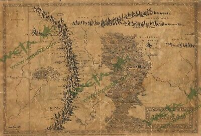 Hobbit  Weta Map of Wilderlands Parchment Print Map The Lord of the Rings NEW