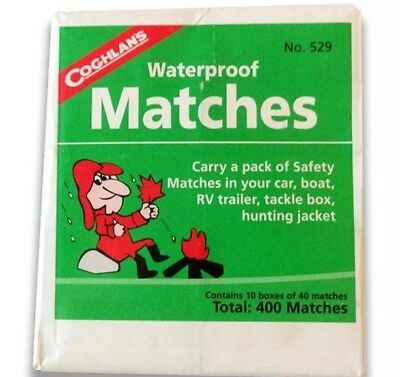 Two Coghlan's Waterproof Matches 10 boxes 40 Matches Per Each Box