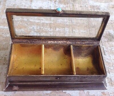 STAMP HOLDER BOX  Antique Silver VICTORIAN beveled glass box REMOVABLE INTERIOR