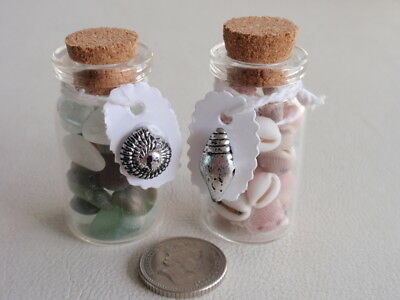"""2 Little bottles 1 seaglass 1 shells with tie tag + silver bead shell over 1.5"""""""