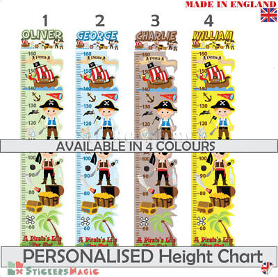 Height Chart Nursery Wall Stickers PERSONALISED Pirate For Boys Kids Childrens