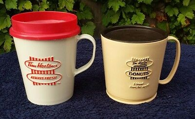 Vintage 2 TIM HORTONS DONUTS  Plastic Travel Cup with Lid - Bilingual set of 2