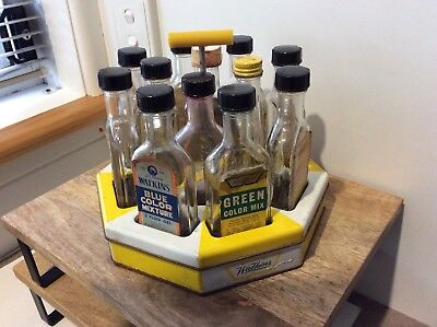Vintage Retro  Watkins Essence /colour Flavouring Bottles And Stand/carousel