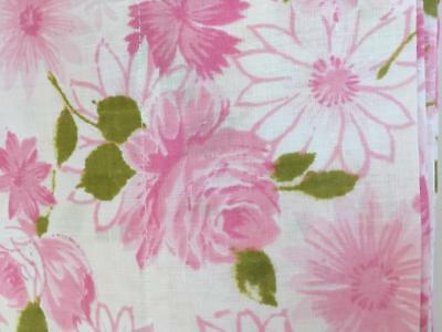 Vintage Lady Pepperell Full Size Flat Sheet - Pink Roses, Daisies Shabby/Cottage