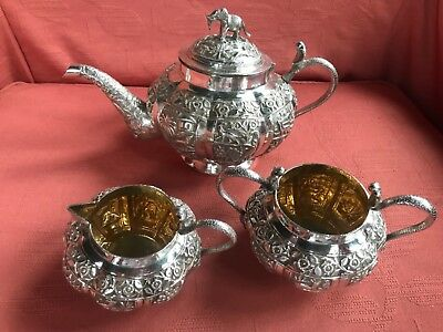 ANTIQUE ANGLO INDIAN COLONIAL SILVER GILT 3 PIECE TEA SET. LUCKNOW.1900. 883 gms