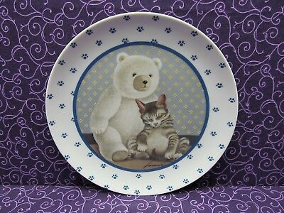 Vintage Lowell Herrero Collector Plate - Napping Cat W/ Teddy Bear - Japan 1989
