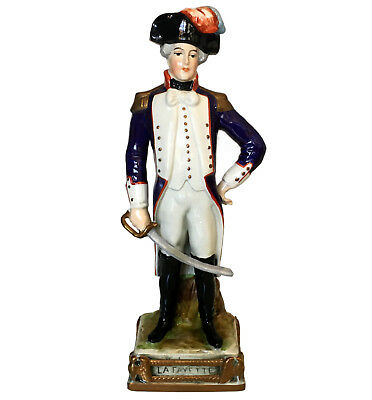 Rare Bourdois & Achille Bloch porcelain figure of Napoleonic General Lafayette
