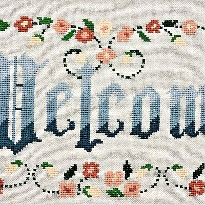 """Finished Completed Cross Stitch Blue Welcome Floral Unframed 18.5"""" x 8.75"""""""