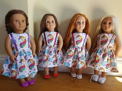Custom made white unicorn dress fits Our Generation Doll - 4 colourways FREE P&P