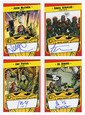 TOPPS MARS ATTACKS OCCUPATION JUDGE DREDD Complete 4 Creator Autograph Card Set