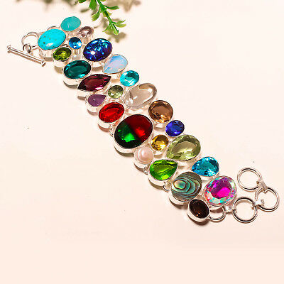 Bi-Color Tourmaline Quartz,blue Topaz & Multi Gems Quartz 925 Silver Bracelet