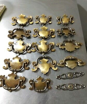 Lot of 14 Vintage Brass Chippendale Drawer Pulls Antique Solid Brass