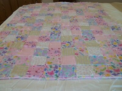 "New Handcrafted, 100% Flannel, Baby Girl Lap or Nap Crib Quilt, 48""  x  36"""