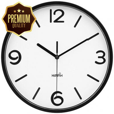 Hippih Silent Wall Clock 10 Inch Non-ticking Battery Operated Round - Easy...