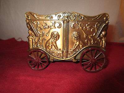 Vintage Banthrico Horse Drawn Circus Wagon Lion Cage Bank With Copper Wash