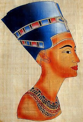 "Egyptian Hand-painted Papyrus Artwork: Queen Nefertiti 12"" x 16 "" IMPORTED"
